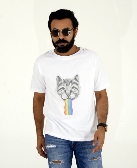Space Cat Printed T Shirt