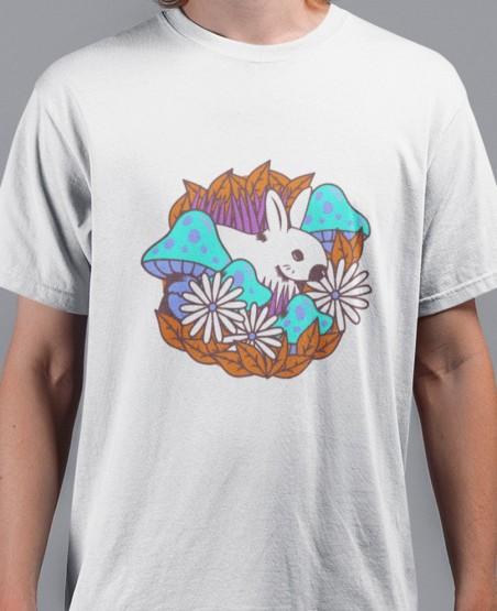 Blue Mushrooms & White Rabit T-Shirt Sri Lanka | PopUpShop