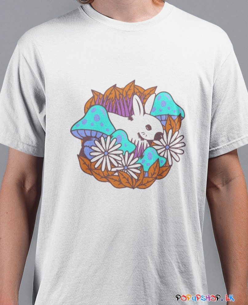 Blue Mushrooms & White Rabit T-Shirt Sri Lanka | PopUpShop