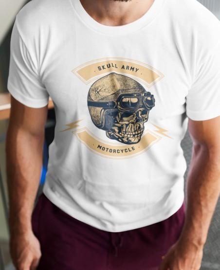 Skull Army Biker T Shirt