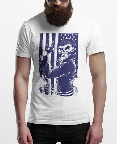 American Flag Biker T-Shirt
