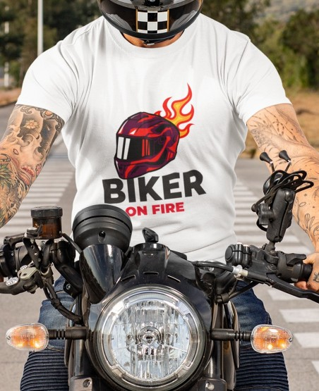 Biker on Fire T Shirt